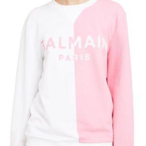 NEW Balmain Bicolor Logo Sweatshirt Long Sleeve